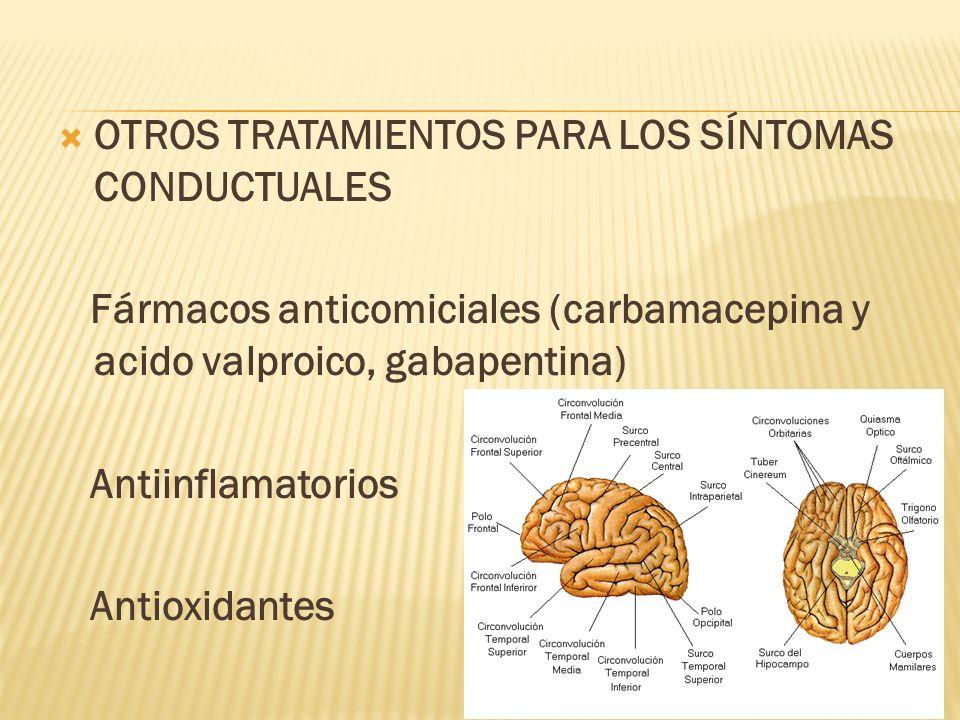 OTROS TRATAMIENTOS PARA LOS SÍNTOMAS CONDUCTUALES Fármacos anticomiciales (carbamacepina y acido valproico, gabapentina) Antiinflamatorios Antioxidant
