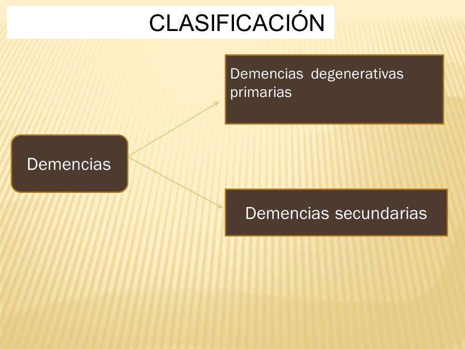 CLASIFICACIÓN Demencias degenerativas primarias Demencias secundarias Demencias