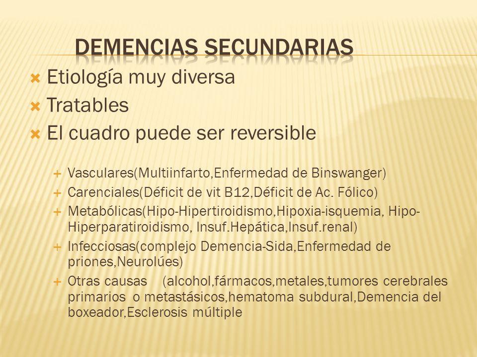 Etiología muy diversa Tratables El cuadro puede ser reversible Vasculares(Multiinfarto,Enfermedad de Binswanger) Carenciales(Déficit de vit B12,Défici
