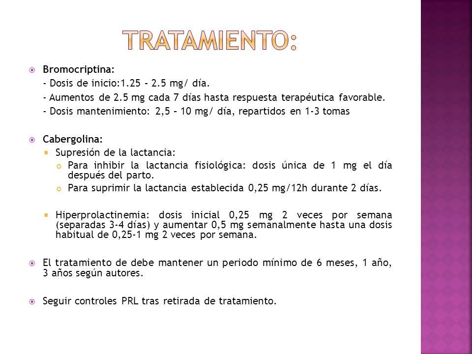 Bromocriptina: - Dosis de inicio:1.25 – 2.5 mg/ día. - Aumentos de 2.5 mg cada 7 días hasta respuesta terapéutica favorable. - Dosis mantenimiento: 2,