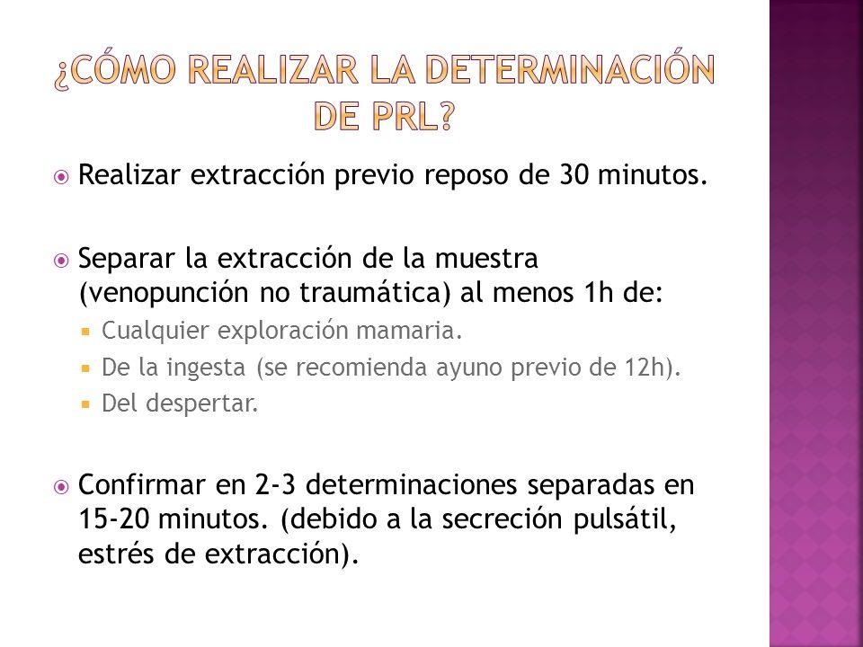 Realizar extracción previo reposo de 30 minutos. Separar la extracción de la muestra (venopunción no traumática) al menos 1h de: Cualquier exploración