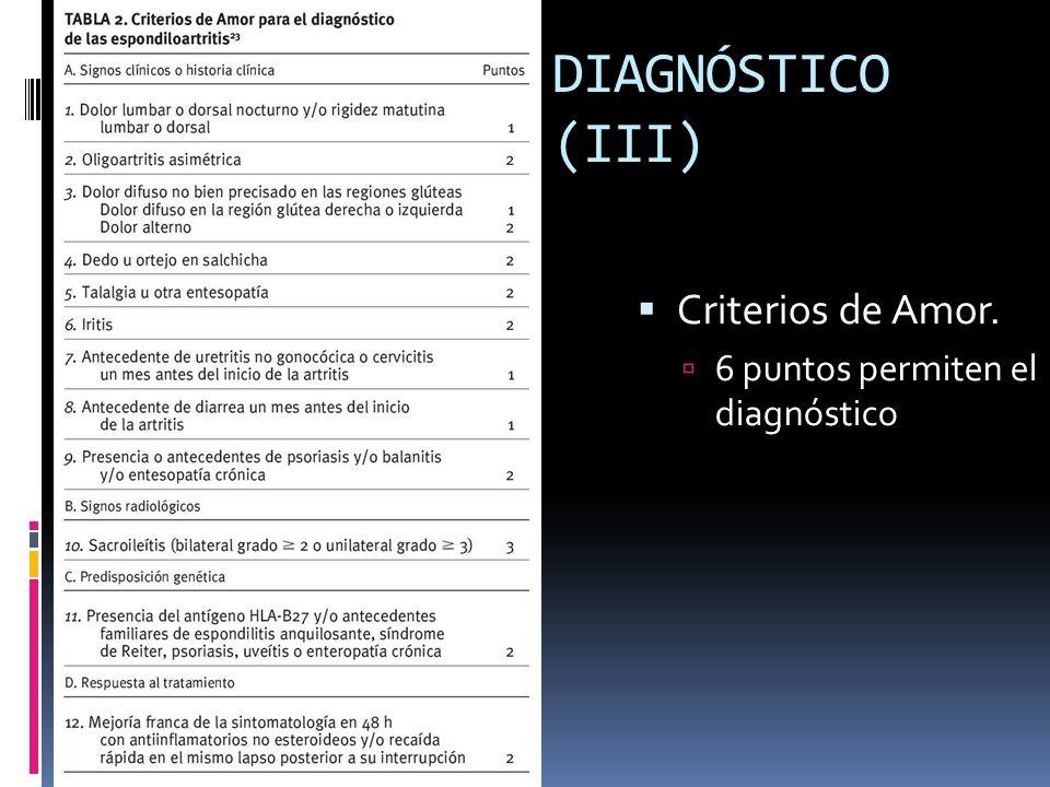 DIAGNÓSTICO (III) Criterios de Amor. 6 puntos permiten el diagnóstico