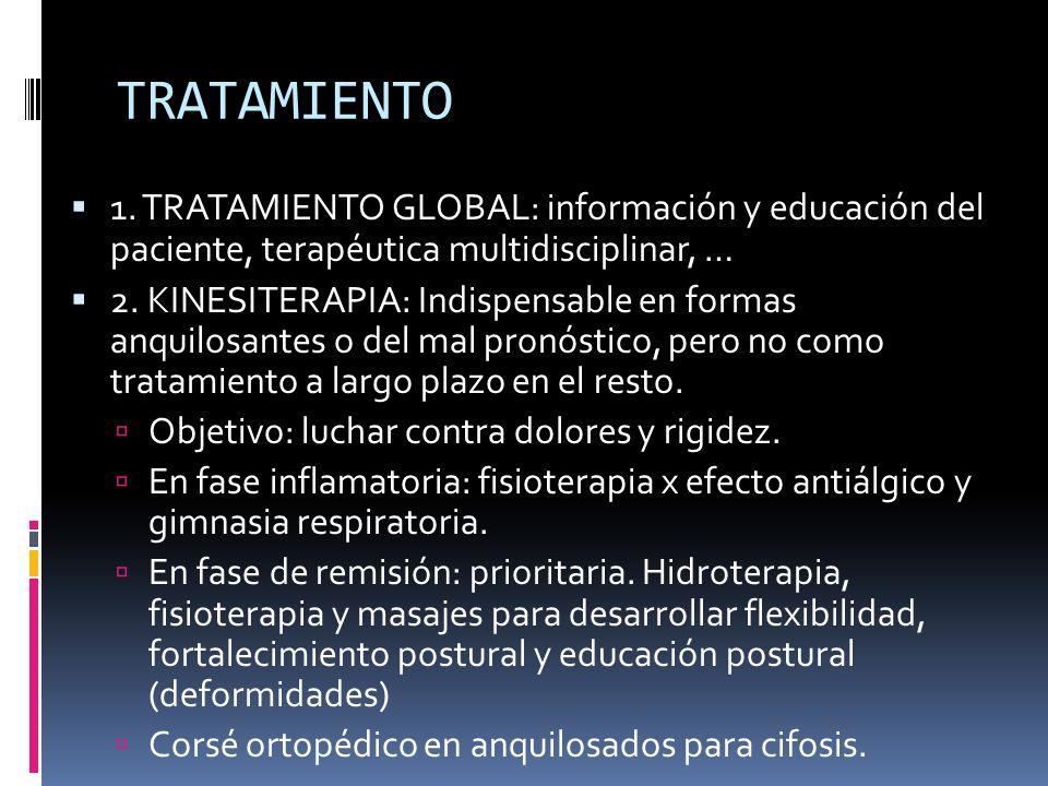 TRATAMIENTO 1. TRATAMIENTO GLOBAL: información y educación del paciente, terapéutica multidisciplinar, … 2. KINESITERAPIA: Indispensable en formas anq