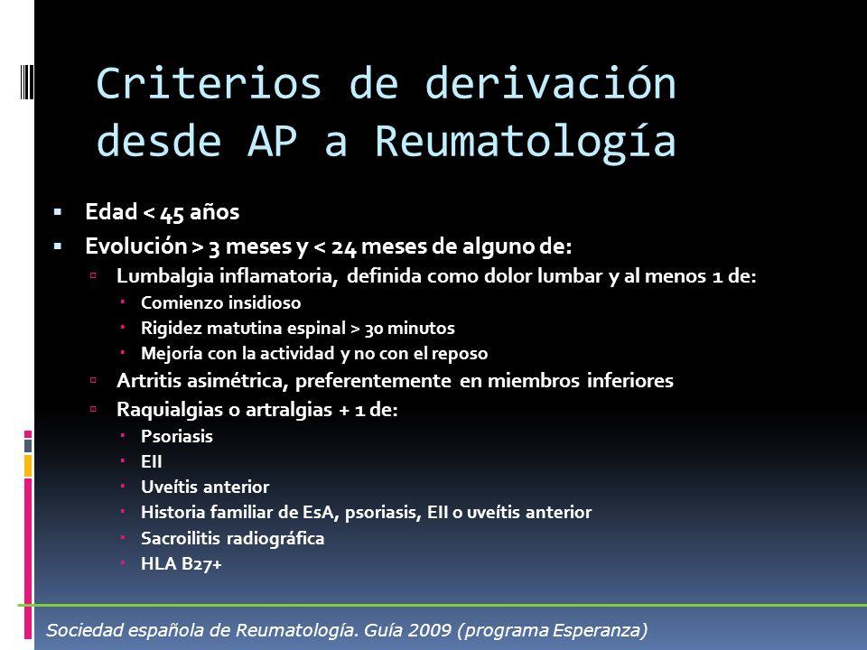 Criterios de derivación desde AP a Reumatología Edad < 45 años Evolución > 3 meses y < 24 meses de alguno de: Lumbalgia inflamatoria, definida como do