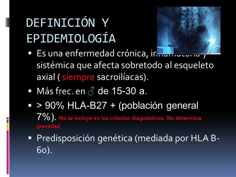 DEFINICIÓN Y EPIDEMIOLOGÍA Es una enfermedad crónica, inflamatoria y sistémica que afecta sobretodo al esqueleto axial ( siempre sacroilíacas). Más fr