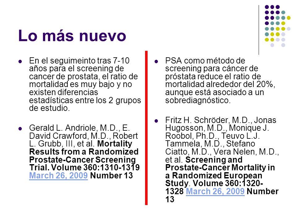 Lo más nuevo En el seguimeinto tras 7-10 años para el screening de cancer de prostata, el ratio de mortalidad es muy bajo y no existen diferencias est