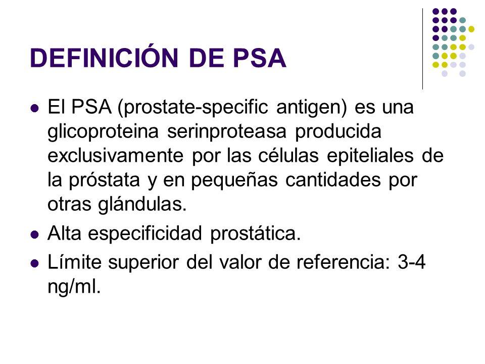 DEFINICIÓN DE PSA El PSA (prostate-specific antigen) es una glicoproteina serinproteasa producida exclusivamente por las células epiteliales de la pró