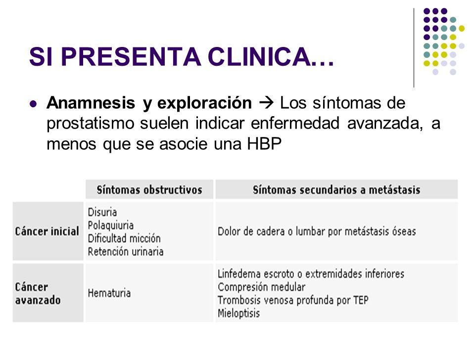SI PRESENTA CLINICA… Anamnesis y exploración Los síntomas de prostatismo suelen indicar enfermedad avanzada, a menos que se asocie una HBP