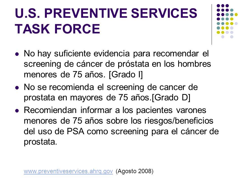 U.S. PREVENTIVE SERVICES TASK FORCE No hay suficiente evidencia para recomendar el screening de cáncer de próstata en los hombres menores de 75 años.