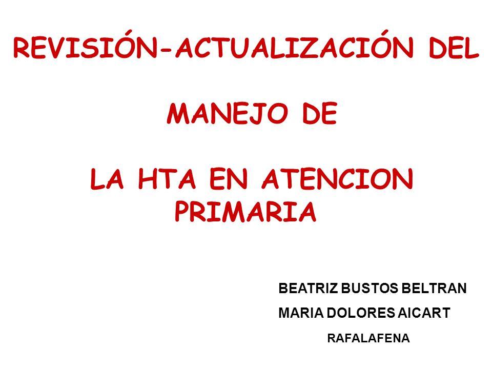 REVISIÓN-ACTUALIZACIÓN DEL MANEJO DE LA HTA EN ATENCION PRIMARIA BEATRIZ BUSTOS BELTRAN MARIA DOLORES AICART RAFALAFENA