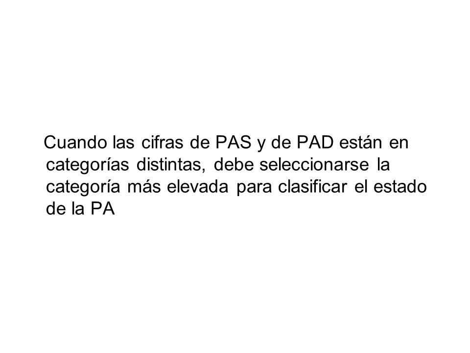 Cuando las cifras de PAS y de PAD están en categorías distintas, debe seleccionarse la categoría más elevada para clasificar el estado de la PA