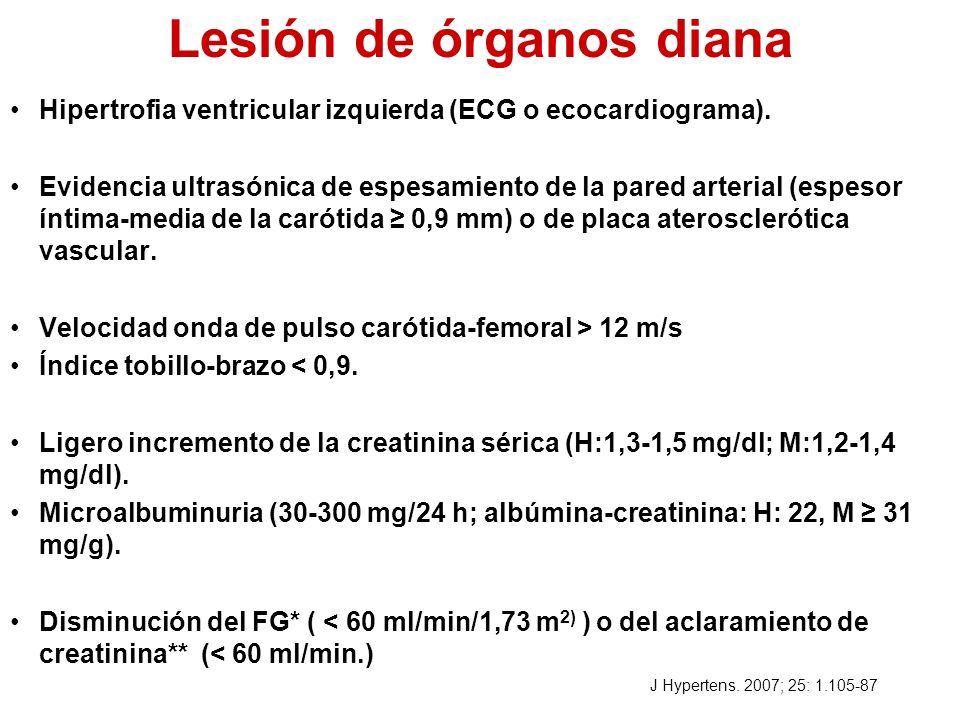 Lesión de órganos diana Hipertrofia ventricular izquierda (ECG o ecocardiograma). Evidencia ultrasónica de espesamiento de la pared arterial (espesor