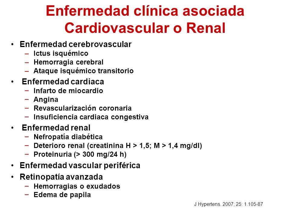 Enfermedad clínica asociada Cardiovascular o Renal Enfermedad cerebrovascular –Ictus isquémico –Hemorragia cerebral –Ataque isquémico transitorio Enfe