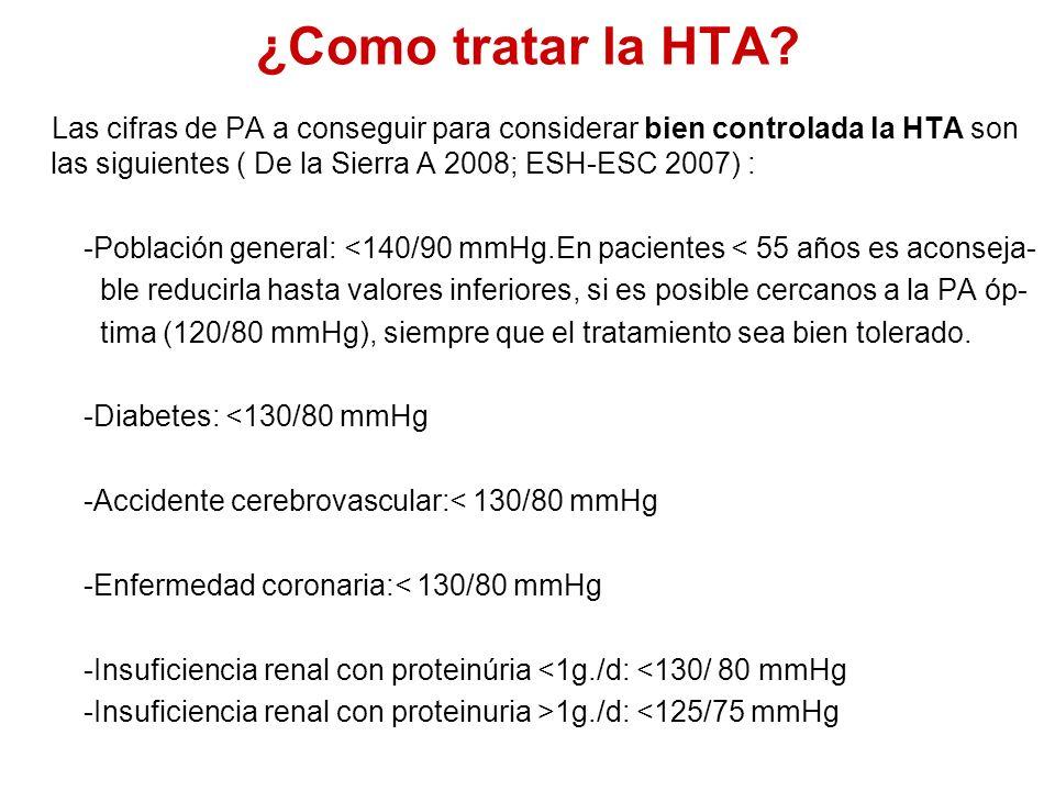 ¿Como tratar la HTA? Las cifras de PA a conseguir para considerar bien controlada la HTA son las siguientes ( De la Sierra A 2008; ESH-ESC 2007) : -Po