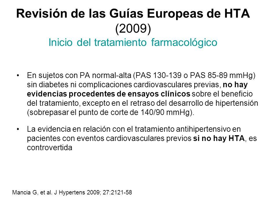 Revisión de las Guías Europeas de HTA (2009) Inicio del tratamiento farmacológico En sujetos con PA normal-alta (PAS 130-139 o PAS 85-89 mmHg) sin dia