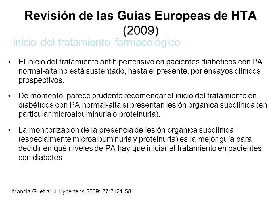 Revisión de las Guías Europeas de HTA (2009) El inicio del tratamiento antihipertensivo en pacientes diabéticos con PA normal-alta no está sustentado,