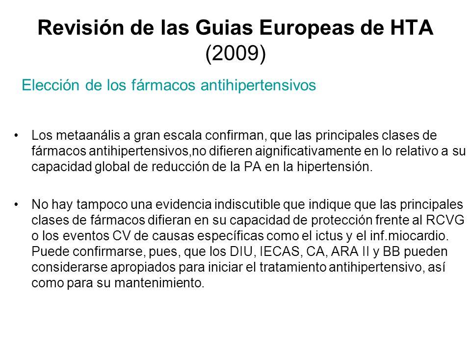 Revisión de las Guias Europeas de HTA (2009) Los metaanális a gran escala confirman, que las principales clases de fármacos antihipertensivos,no difie