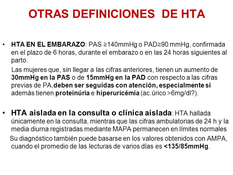 OTRAS DEFINICIONES DE HTA HTA EN EL EMBARAZO: PAS 140mmHg o PAD90 mmHg, confirmada en el plazo de 6 horas, durante el embarazo o en las 24 horas sigui