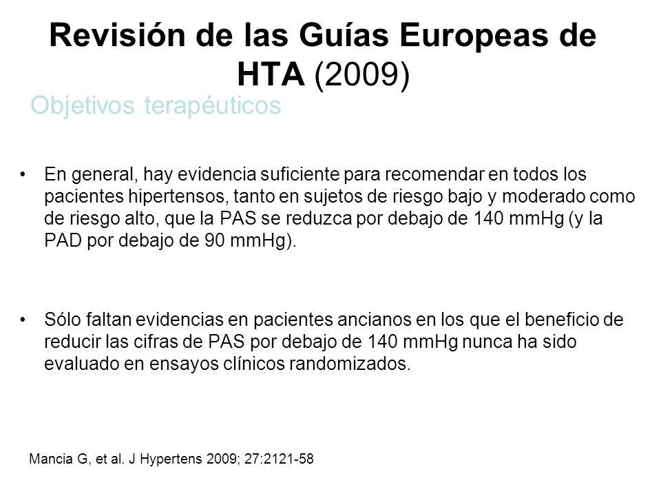 Revisión de las Guías Europeas de HTA (2009) En general, hay evidencia suficiente para recomendar en todos los pacientes hipertensos, tanto en sujetos