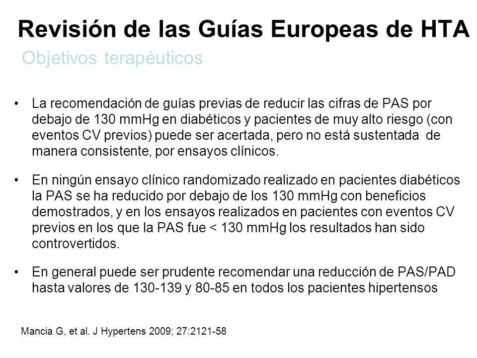 Revisión de las Guías Europeas de HTA La recomendación de guías previas de reducir las cifras de PAS por debajo de 130 mmHg en diabéticos y pacientes