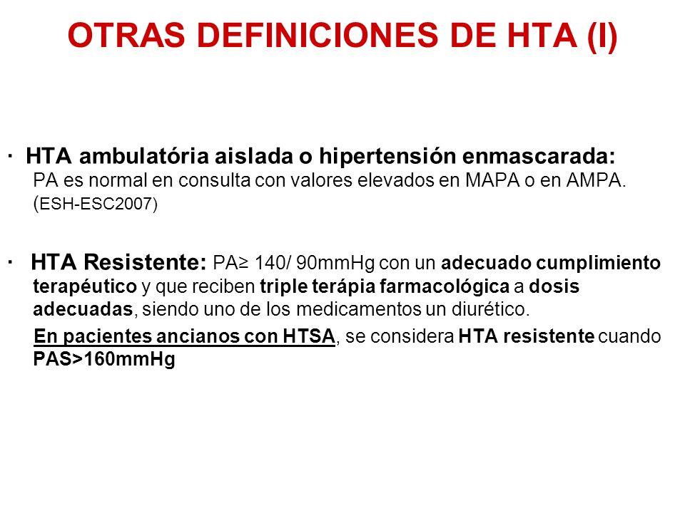 OTRAS DEFINICIONES DE HTA (I) · HTA ambulatória aislada o hipertensión enmascarada: PA es normal en consulta con valores elevados en MAPA o en AMPA. (