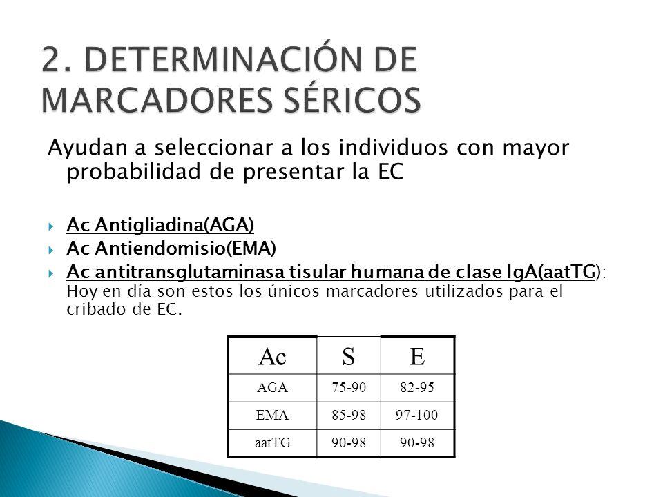 Ayudan a seleccionar a los individuos con mayor probabilidad de presentar la EC Ac Antigliadina(AGA) Ac Antiendomisio(EMA) Ac antitransglutaminasa tis