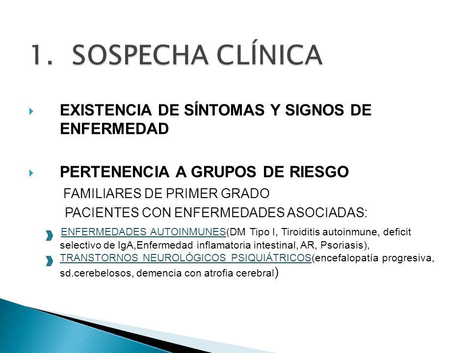 EXISTENCIA DE SÍNTOMAS Y SIGNOS DE ENFERMEDAD PERTENENCIA A GRUPOS DE RIESGO FAMILIARES DE PRIMER GRADO PACIENTES CON ENFERMEDADES ASOCIADAS: ENFERMED