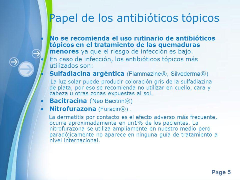 Page 5 Papel de los antibióticos tópicos No se recomienda el uso rutinario de antibióticos tópicos en el tratamiento de las quemaduras menores ya que