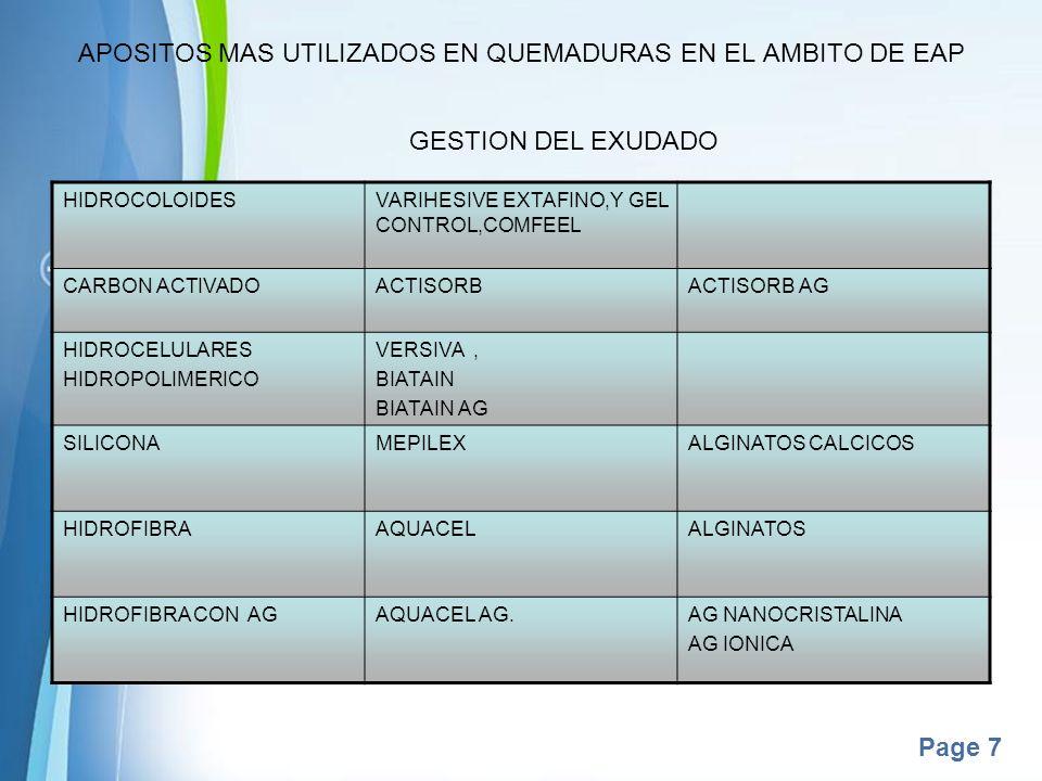 Page 7 APOSITOS MAS UTILIZADOS EN QUEMADURAS EN EL AMBITO DE EAP HIDROCOLOIDESVARIHESIVE EXTAFINO,Y GEL CONTROL,COMFEEL CARBON ACTIVADOACTISORBACTISOR