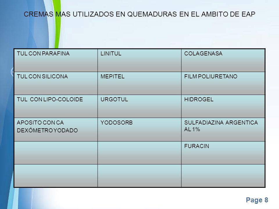 Page 8 CREMAS MAS UTILIZADOS EN QUEMADURAS EN EL AMBITO DE EAP TUL CON PARAFINALINITULCOLAGENASA TUL CON SILICONAMEPITELFILM POLIURETANO TUL CON LIPO-