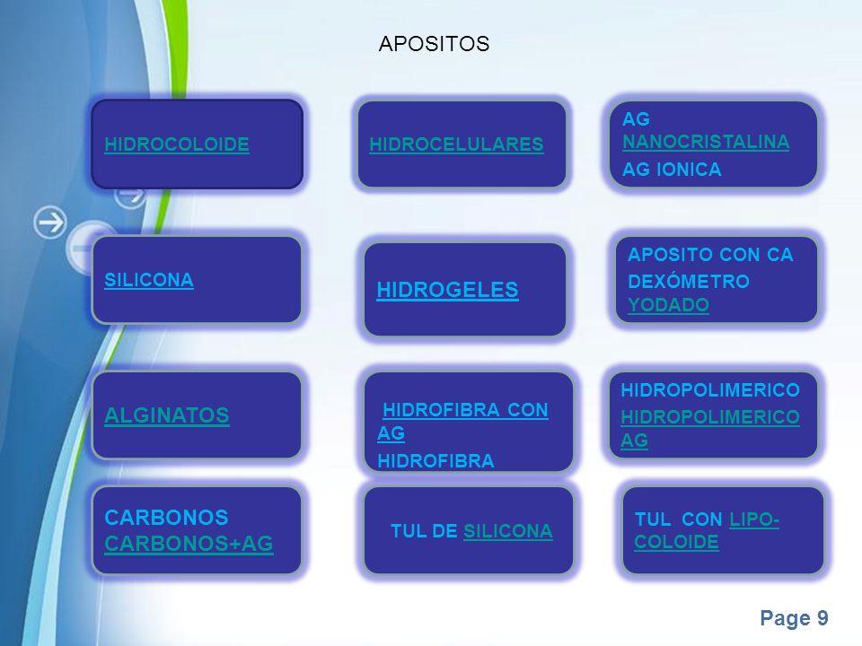 Page 9 APOSITOS HIDROCOLOIDE HIDROCELULARES AG NANOCRISTALINA NANOCRISTALINA AG IONICA SILICONA HIDROGELES APOSITO CON CA DEXÓMETRO YODADO YODADO ALGI
