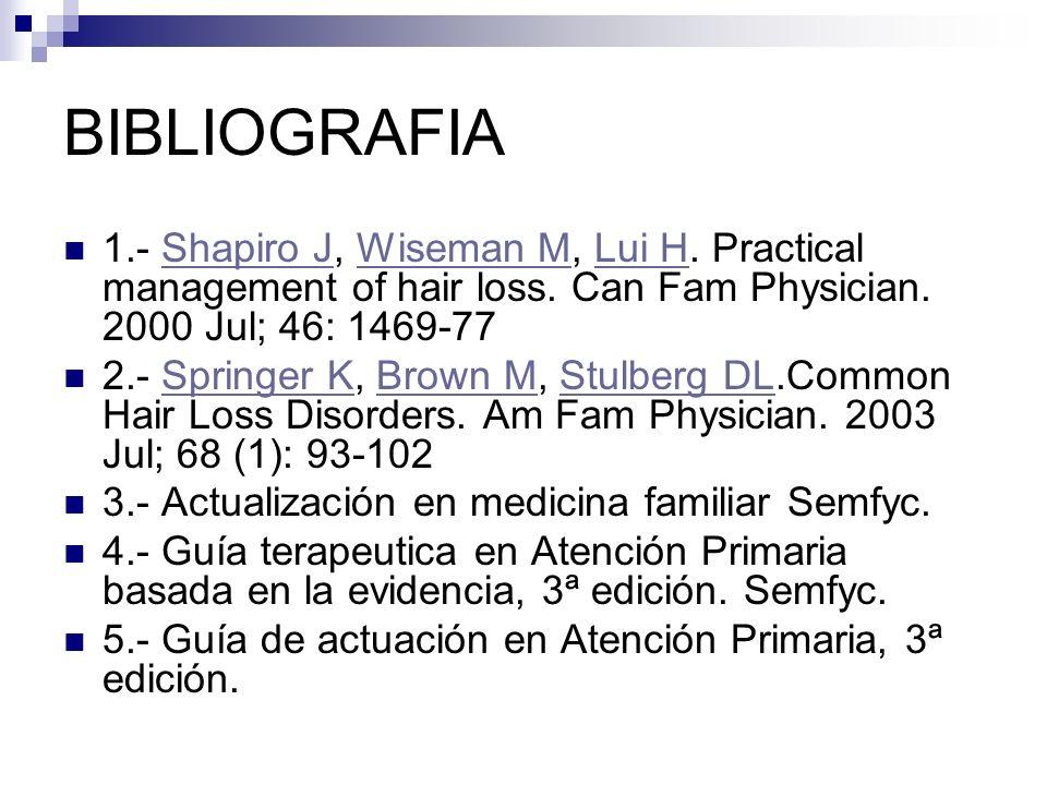 BIBLIOGRAFIA 1.- Shapiro J, Wiseman M, Lui H. Practical management of hair loss. Can Fam Physician. 2000 Jul; 46: 1469-77Shapiro JWiseman MLui H 2.- S