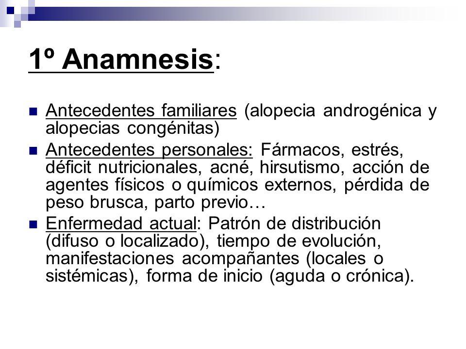 1º Anamnesis: Antecedentes familiares (alopecia androgénica y alopecias congénitas) Antecedentes personales: Fármacos, estrés, déficit nutricionales,