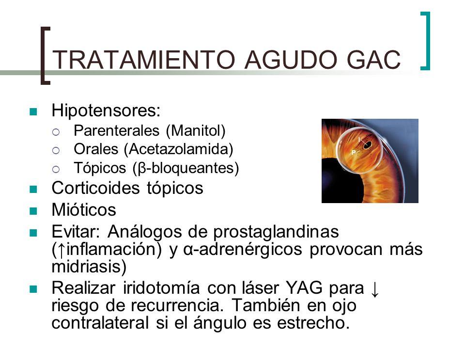 TRATAMIENTO AGUDO GAC Hipotensores: Parenterales (Manitol) Orales (Acetazolamida) Tópicos (β-bloqueantes) Corticoides tópicos Mióticos Evitar: Análogo