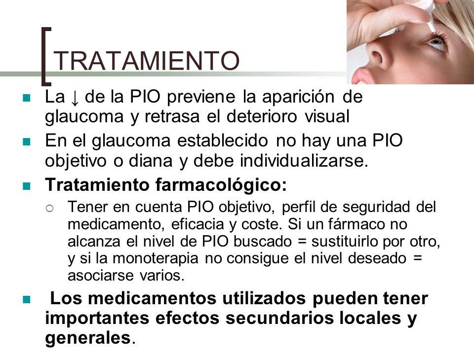 TRATAMIENTO La de la PIO previene la aparición de glaucoma y retrasa el deterioro visual En el glaucoma establecido no hay una PIO objetivo o diana y