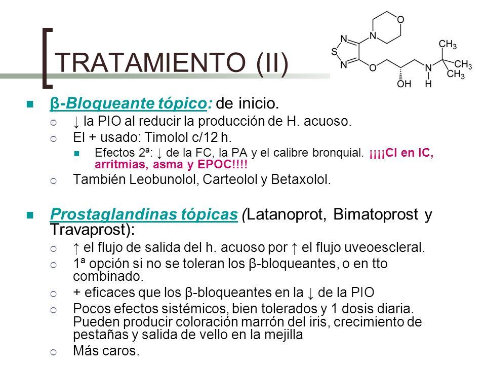 TRATAMIENTO (II) β-Bloqueante tópico: de inicio. la PIO al reducir la producción de H. acuoso. El + usado: Timolol c/12 h. Efectos 2ª: de la FC, la PA