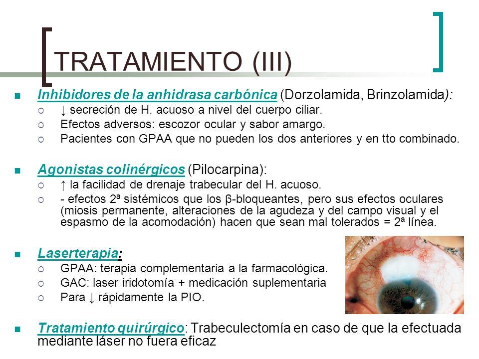 TRATAMIENTO (III) Inhibidores de la anhidrasa carbónica (Dorzolamida, Brinzolamida): secreción de H. acuoso a nivel del cuerpo ciliar. Efectos adverso