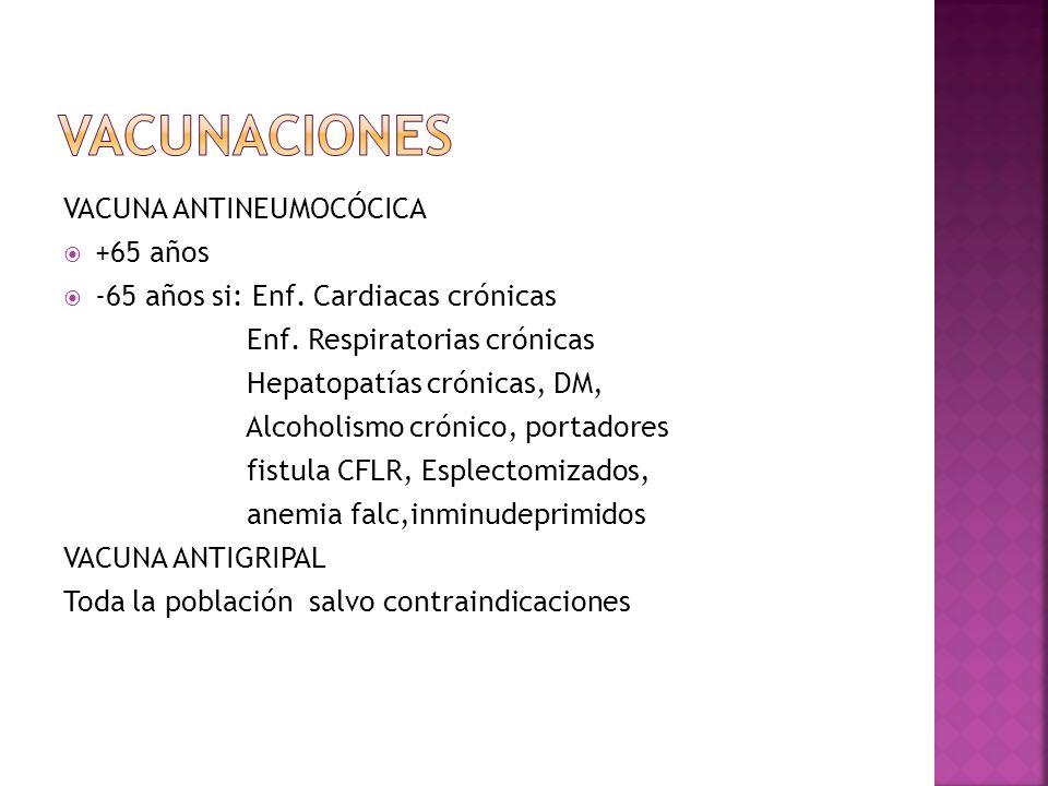 VACUNA ANTINEUMOCÓCICA +65 años -65 años si: Enf. Cardiacas crónicas Enf. Respiratorias crónicas Hepatopatías crónicas, DM, Alcoholismo crónico, porta