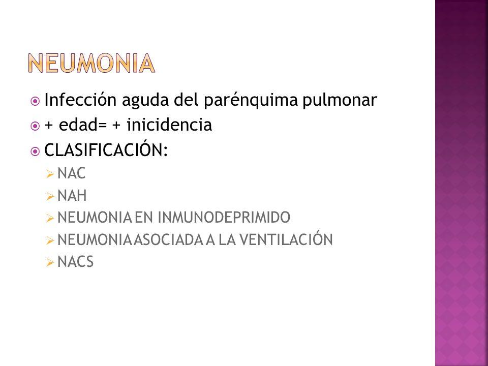 Infección aguda del parénquima pulmonar + edad= + inicidencia CLASIFICACIÓN: NAC NAH NEUMONIA EN INMUNODEPRIMIDO NEUMONIA ASOCIADA A LA VENTILACIÓN NA