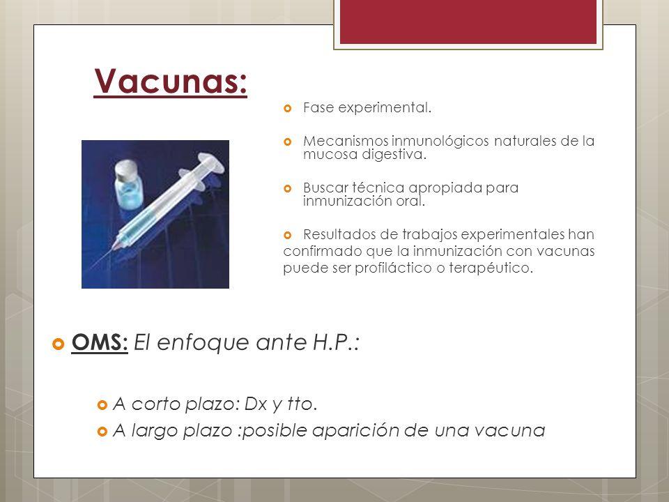 Vacunas: OMS: El enfoque ante H.P.: A corto plazo: Dx y tto. A largo plazo :posible aparición de una vacuna Fase experimental. Mecanismos inmunológico