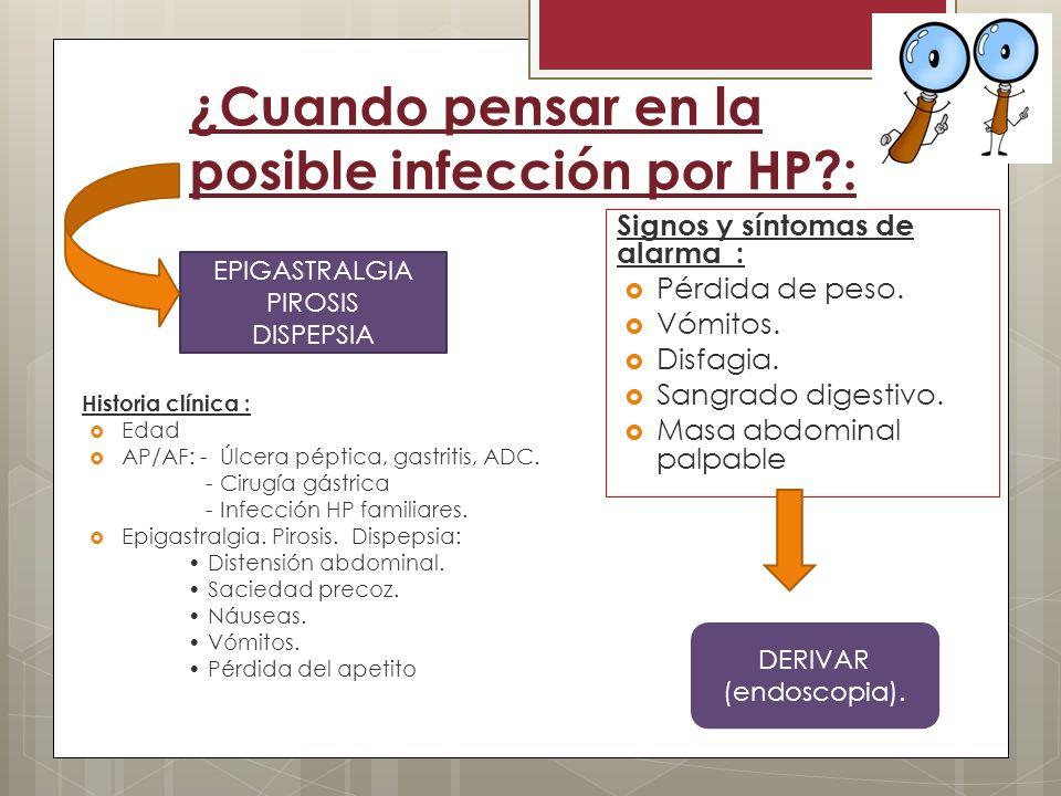 ¿Cuando pensar en la posible infección por HP?: Historia clínica : Edad AP/AF: - Úlcera péptica, gastritis, ADC. - Cirugía gástrica - Infección HP fam
