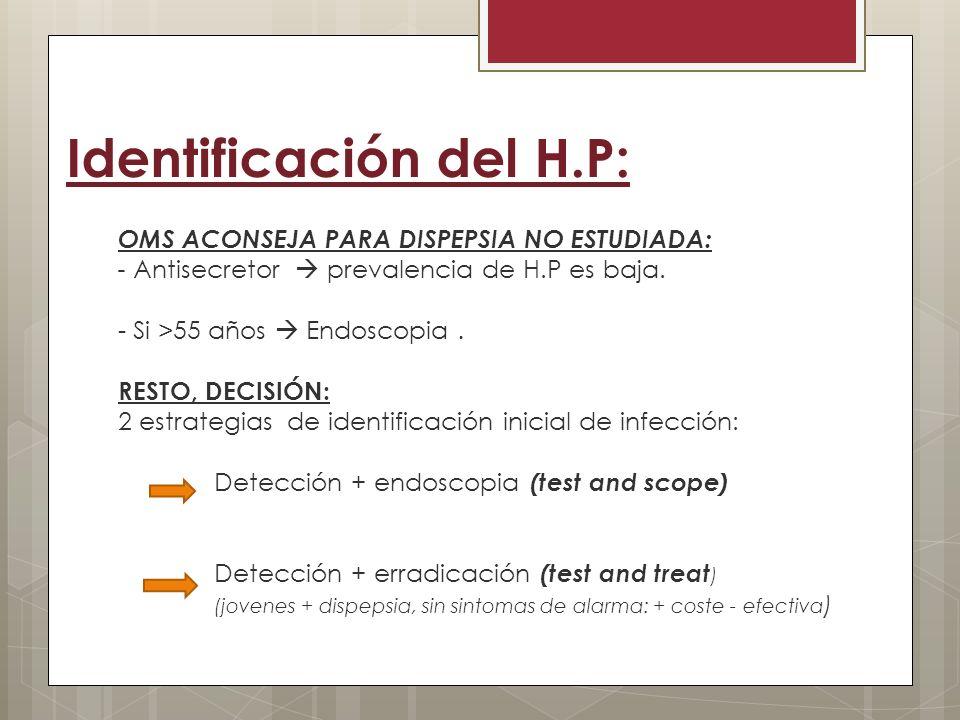 Diagnóstico: 1,Pruebas no invasivas: Test del aliento con urea marcada con C13/C14: (Elección si no endoscopia) Prueba de Antigenos fecales (Elección si anterior no posible) Serología de sangre (Estudios epidemiológicos) 2,Pruebas invasivas: Test rápido de ureasa (Elección si endoscopia) Histología (antro, si el anterior es -) Cultivo (investigación) Enfoque molecular: PCR (experimental) Confirmar que no han tomado: - IBP en las 2 ultimas semanas.