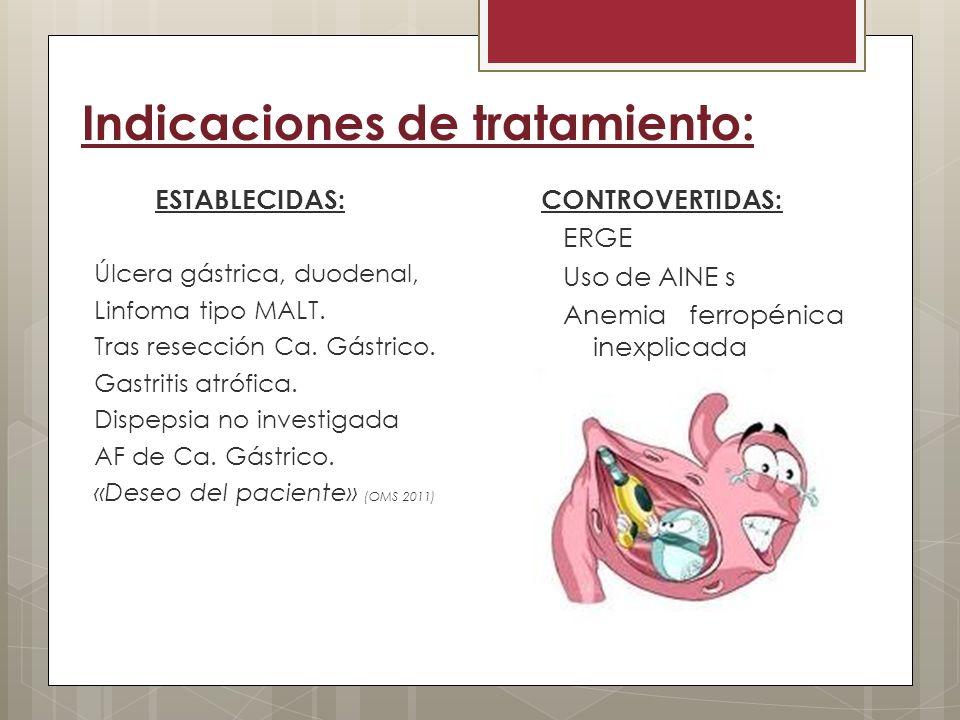 Indicaciones de tratamiento: ESTABLECIDAS: Úlcera gástrica, duodenal, Linfoma tipo MALT. Tras resección Ca. Gástrico. Gastritis atrófica. Dispepsia no