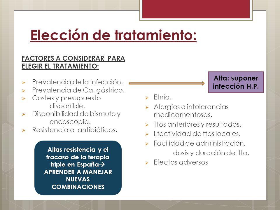 Elección de tratamiento: FACTORES A CONSIDERAR PARA ELEGIR EL TRATAMIENTO: Prevalencia de la infección. Prevalencia de Ca. gástrico. Costes y presupue