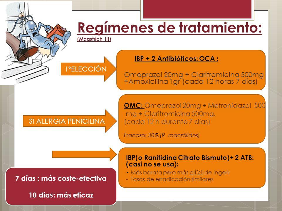 Regímenes de tratamiento: (Maastrich III) IBP + 2 Antibióticos: OCA : Omeprazol 20mg + Claritromicina 500mg +Amoxicilina 1gr (cada 12 horas 7 días) OM