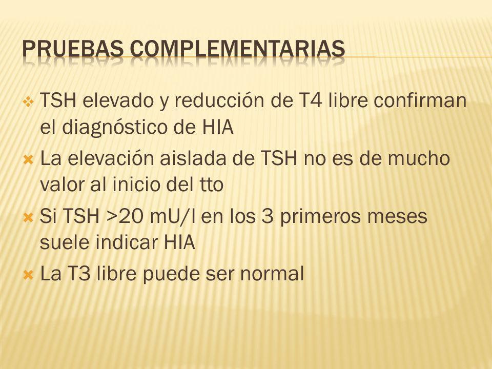 TSH elevado y reducción de T4 libre confirman el diagnóstico de HIA La elevación aislada de TSH no es de mucho valor al inicio del tto Si TSH >20 mU/l