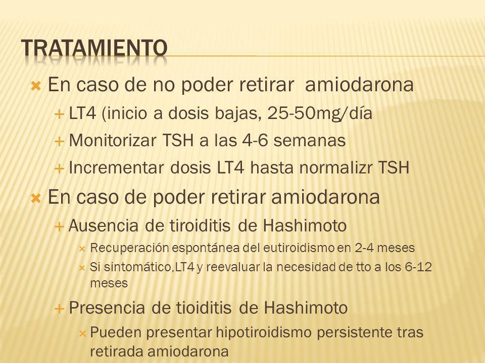 En caso de no poder retirar amiodarona LT4 (inicio a dosis bajas, 25-50mg/día Monitorizar TSH a las 4-6 semanas Incrementar dosis LT4 hasta normalizr