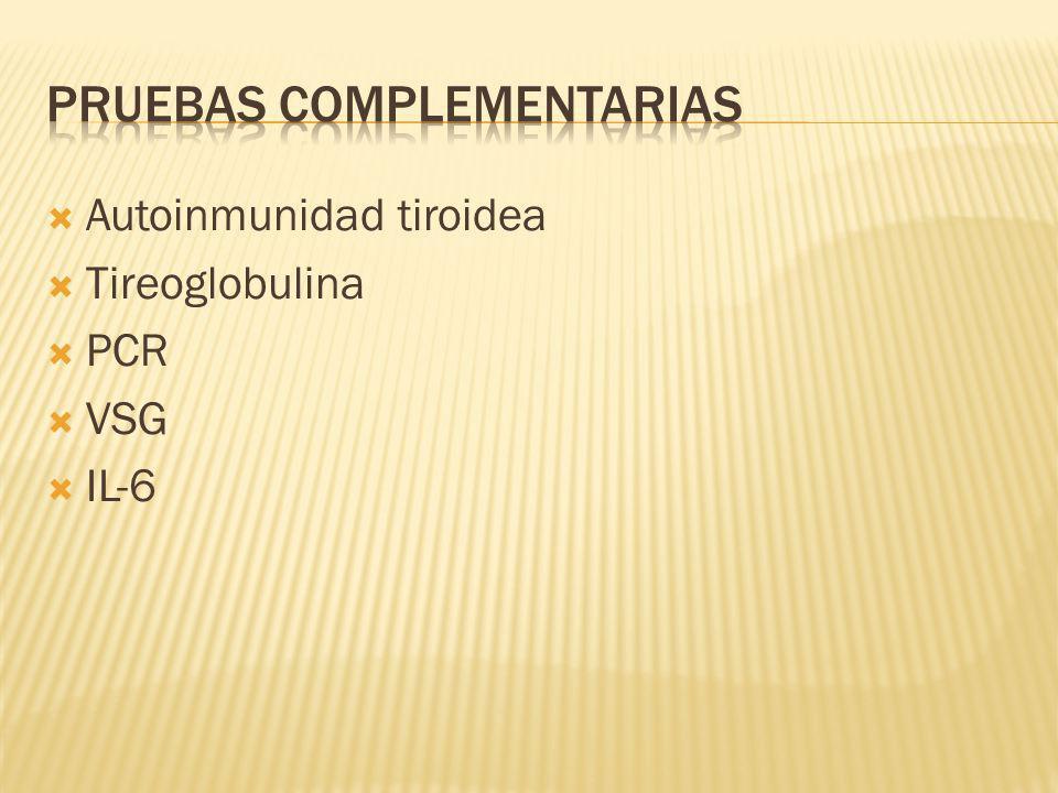 Autoinmunidad tiroidea Tireoglobulina PCR VSG IL-6