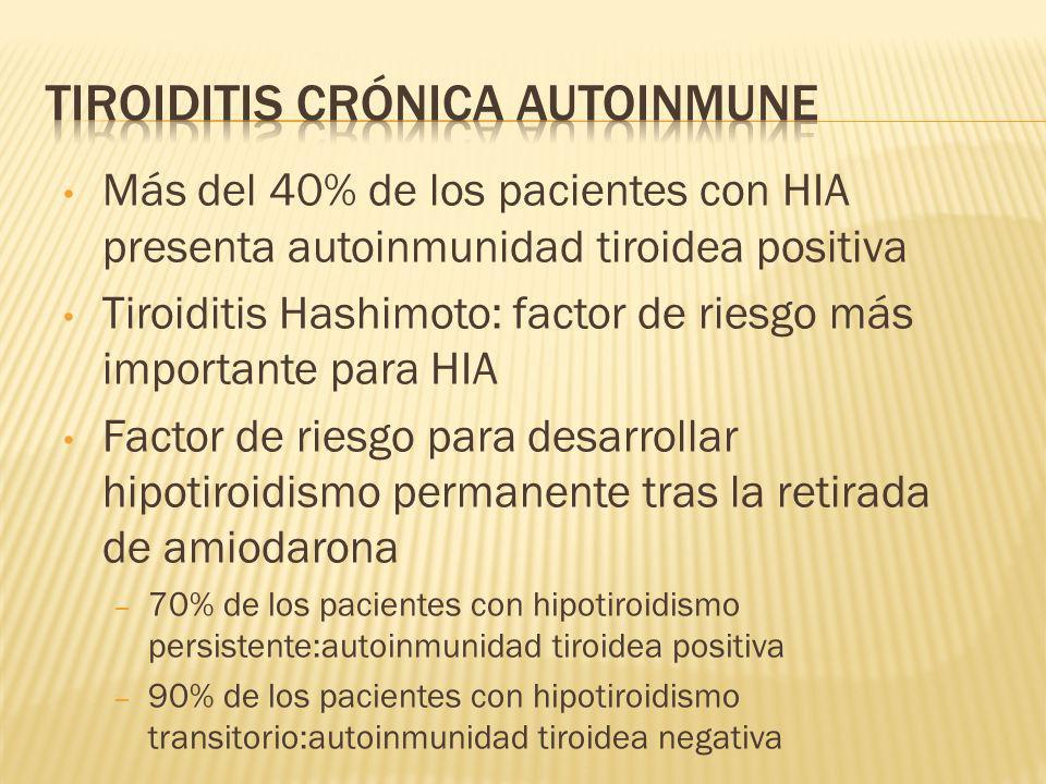 Más del 40% de los pacientes con HIA presenta autoinmunidad tiroidea positiva Tiroiditis Hashimoto: factor de riesgo más importante para HIA Factor de