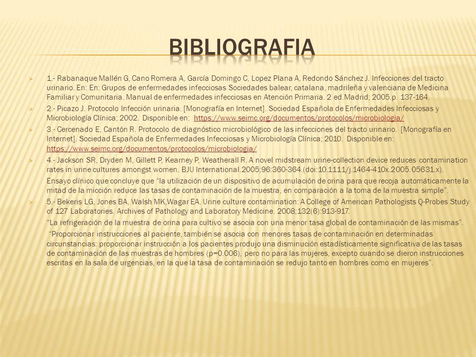 1.- Rabanaque Mallén G, Cano Romera A, García Domingo C, Lopez Plana A, Redondo Sánchez J. Infecciones del tracto urinario. En: En: Grupos de enfermed